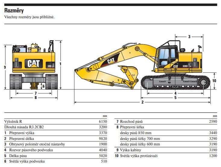 Rozměry CAT 328D